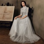 Floor length Silvery Tulle Formal Dress Half Sleeve Lace Up Back Exquisite Embroidery Evening-Dress Long Formal Dresses