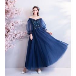 A Line Ankle Length Dark Blue Tulle Prom Dress Off The Shoulder Pagoda Sleeve Lace Up Party Dress With Appliques Sashes