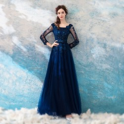 A Line Floor Length Square Neck Dark Blue Tulle Evening Dress With Appliques Sequins Long Lace Sleeves Prom Dress