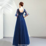 Noble Elegance Floor-Length Royal Blue Tulle Evening Dress With Appliques/Sequines Lace-up Pagoda Sleeve Prom Dress V-neck New