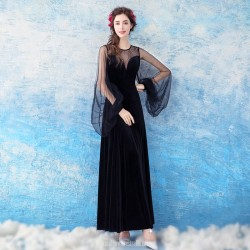 Noble And Fashionable Sheath Column Black Evening Dress Long Pagoda Sleeve Illusion Neck Party Dress