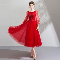 A-line Medium-Length Red Tulle Evening Dress With Appliques/Sequins Scoop-neck Long Pagoda Sleeve Lace-up Party Dress
