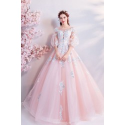 Romantic Floor Length Cherry Pink Tulle Ball Gown Lace-up Fashion Pagoda Sleeve Handmade Embroidery With Sequins Evening Dress