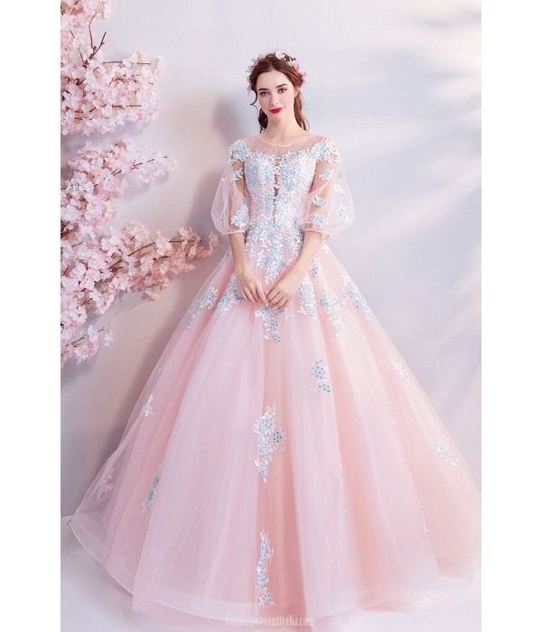 Romantic Floor Length Cherry Pink Tulle Ball Gown Lace-up Fashion Pagoda Sleeve Handmade Embroidery With Sequins Evening Dress New