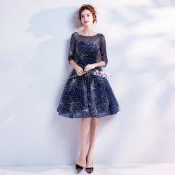 A Line Knee Length Blue Chiffon Party Dress Lace Up Half Sleeves Starry Skirt