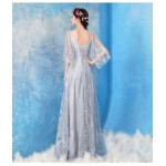 Sequined Sparkle & Shine Prom Dress Floor Length Light Silver Grey V-neck Fashion Pagoda Sleeve Party Dress With Sequines New