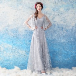 Sequined Sparkle &Amp; Shine Prom Dress Floor Length Light Silver Grey V Neck Fashion Pagoda Sleeve Party Dress With Sequines