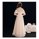 Elegant Ankle Length White Chiffon Evening Dress With Appliques Hanging neck Short Sleeve Zipper Party Dress New
