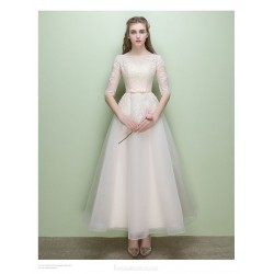 Elegant Ankle Length Champagne Chiffon Evening Dress A-line Sheer-neck Half Sleeve Party Dress