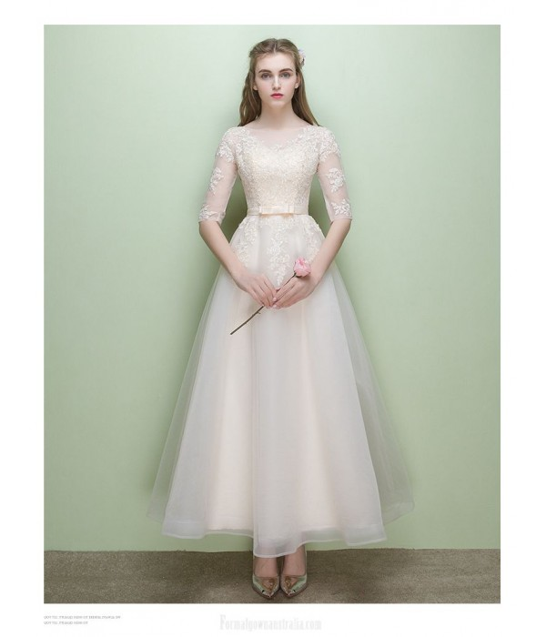 Elegant Ankle Length Champagne Chiffon Evening Dress A-line Sheer-neck Half Sleeve Party Dress New