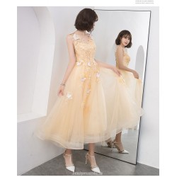 Glamorous Medium Length Gold Chiffon Prom Dress With Appliques Sequins Lace Up Stereo Butterfly Party Dress V Neck
