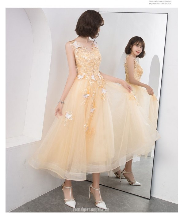 Glamorous Medium Length Gold Chiffon Prom Dress With Appliques/Sequins Lace-up Stereo Butterfly Party Dress V-neck New