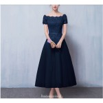 A-line Medium Length Royal Blue Evening Dress Lace-up Off The Shoulder Party Dress With Appliques New