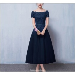 A Line Medium Length Royal Blue Evening Dress Lace Up Off The Shoulder Party Dress With Appliques