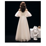 Elegant Medium Length Tulle Evening Dress Fashion Short Sleeve Illusion neck Party Dress New