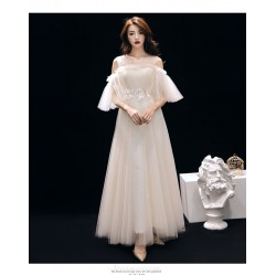 Elegant Medium Length Tulle Evening Dress Fashion Short Sleeve Illusion Neck Party Dress