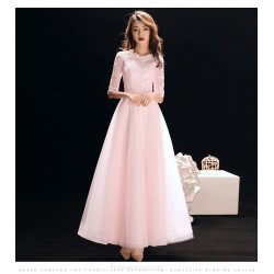 A Line Light Pink Chiffon Evening Dress Lace Up Half Sleeve Lace Collar Party Dress
