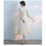 A-line Medium Length Lace-up Champagne Lace Evening Dress With Appliques/Sequins New