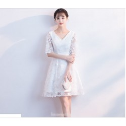 Elegant Knee Length White Chiffon Lace Half Sleeve Cocktail Party Dress V-neck