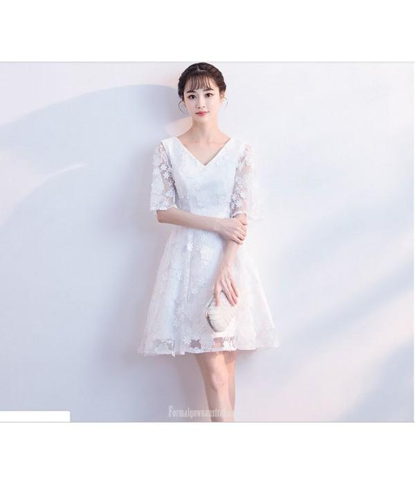 Elegant Knee Length White Chiffon Lace Half Sleeve Cocktail Party Dress V-neck New