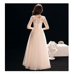 A-line Ankle Length Champagne Chiffon Evening Dress Lace-up Half Sleeve Lace Collar Party Dress New