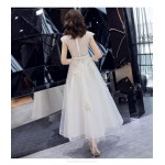 Elegant Ankle Length Invisible Zipper Boat-neck White Chiffon Evening Dress New