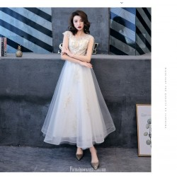 Elegant Ankle Length Invisible Zipper Boat Neck White Chiffon Evening Dress