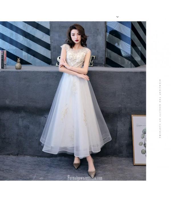 Elegant Ankle Length Invisible Zipper Boat-neck White Chiffon Evening Dress New