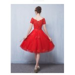 A-line Medium Length Off The Shoulder Red Tulle Party Dress With Appliques New