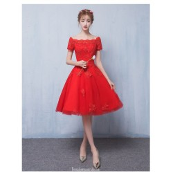 A-line Medium Length Off The Shoulder Red Tulle Party Dress With Appliques
