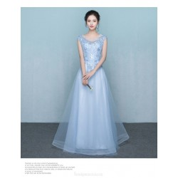 A Line Floor Length Blue Chiffon Evening Dress Scoop Neck Sleeveses Zipper Party Dress With Appliques Sequins