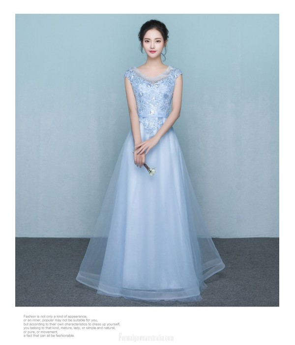 A-line Floor Length Blue Chiffon Evening Dress Scoop-neck Sleeveses Zipper Party Dress With Appliques/Sequins New