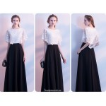 Elegant Floor Length Color Block Evening Dress With Lace Tops New