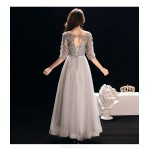 A-line Ankle Length Silver Gray Chiffon Prom Dress With Appliques/Sequins/Sashes New
