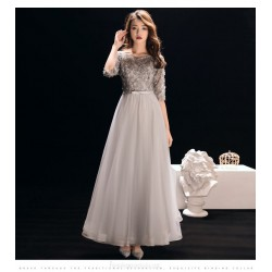 A Line Ankle Length Silver Gray Chiffon Prom Dress With Appliques Sequins Sashes