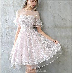 A Line Knee Length Lace Chiffon Party Dress Illusion Neck Keyhole Back Prom Dress