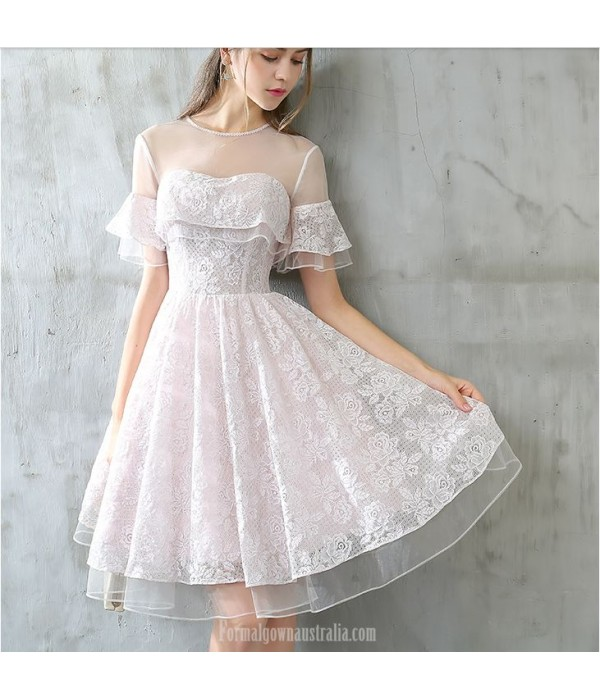 A-line Knee-length Lace Chiffon Party Dress Illusion-neck Keyhole Back Prom Dress New