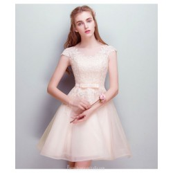 A Line Short Boat Neck Champagne Chiffon Lace Cocktail Dress