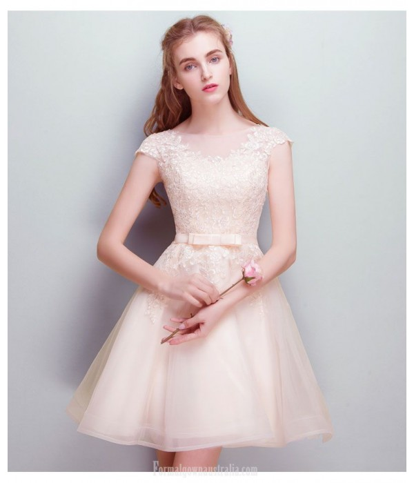 A-line Short Boat-neck Champagne Chiffon Lace Cocktail Dress New