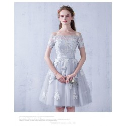 A Line Knee Length Gray Tulle Lace Prom Dress Off The Shoulder Lace Up Party Dress With Appliques
