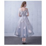 Fashion Front Short Rear Length Gray Tulle Evening Dress Lace-up Off The Shoulder Party Dress With Appliques New