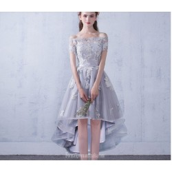 Fashion Front Short Rear Length Gray Tulle Evening Dress Lace Up Off The Shoulder Party Dress With Appliques