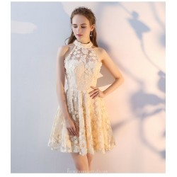 Short Mini Hanging Neck Invisible Zipper Champagne Lace Party Dress