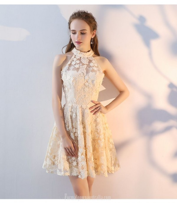 Short/Mini Hanging-neck Invisible Zipper Champagne Lace Party Dress New