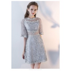 Sheath/Column Half Sleeves Short Gray Lace Party Dress With Invisible Zipper