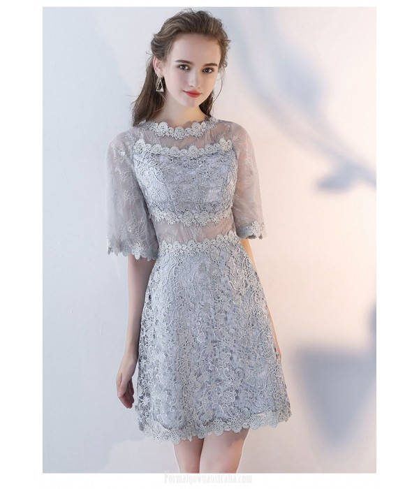 Sheath/Column Half Sleeves Short Gray Lace Party Dress With Invisible Zipper New