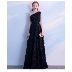 A-line Floor Length Black Evening Dress One Shoulder Invisible Zipper Prom Dress