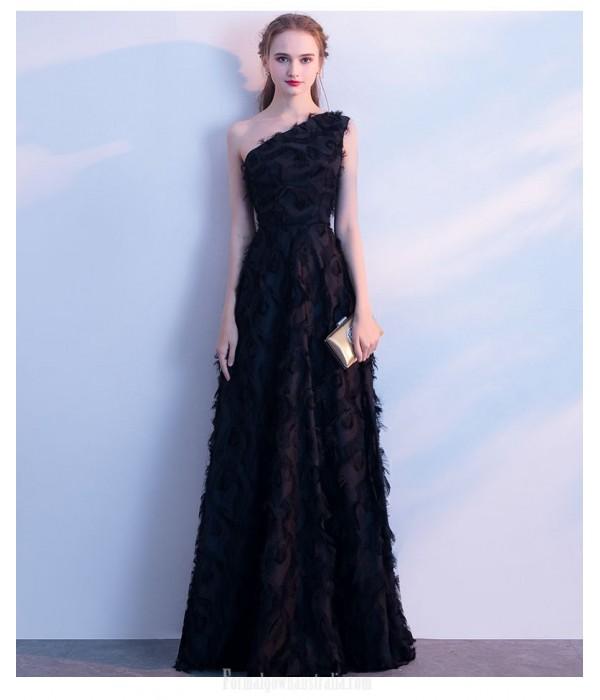 A-line Floor Length Black Evening Dress One Shoulder Invisible Zipper Prom Dress New