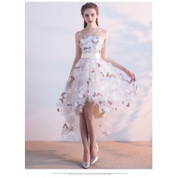 Front Short Rear Length Party Dress Strapless Lace Up Prom Dress With Butterfly Printing Sashes
