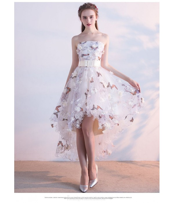 Front Short Rear Length Party Dress Strapless Lace-up Prom Dress With Butterfly Printing/Sashes New